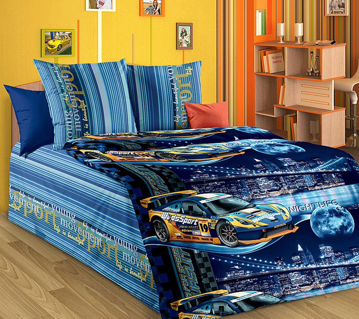 ТексДизайн Комплект детского постельного белья Неон 1,5-спальный1130АКомплект детского постельного белья Неон, состоящий из двух наволочек, простыни и пододеяльника, выполнен из прочной бязи. Комплект постельного белья украшен изображениями гоночных машин на фоне городских небоскребов. Сегодня компания Текс-Дизайн является крупнейшим поставщиком эксклюзивной набивной бязи. Вся ткань изготовлена из 100% хлопка. Бязь - хлопчатобумажная плотная ткань полотняного переплетения. Отличается прочностью и стойкостью к многочисленным стиркам. Бязь считается одной из наиболее подходящих тканей, для производства постельного белья и пользуется в России большим спросом. Фирменная продукция отличается оригинальным дизайном, высокой прочностью и долговечностью. Такой комплект идеально подойдет для кроватки вашего малыша. На нем ребенок будет спать здоровым и крепким сном.
