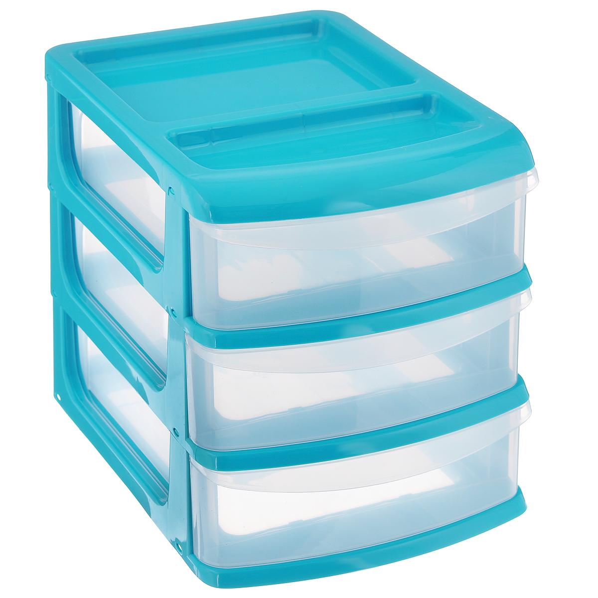 Бокс универсальный Idea, 3 секции, цвет: бирюзовый, прозрачный, 24,5 х 17,5 х 20 смМ 2765_бирюзовыйУниверсальный бокс Idea выполнен из высококачественного пластика и имеет три удобные выдвижные секции. Бокс предназначен для хранения предметов шитья, рукоделия, хобби и всех необходимых мелочей. Изделие позволит компактно хранить вещи, поддерживая порядок и уют в вашем доме.Размер секции: 21,5 см х 15 см х 5 см.