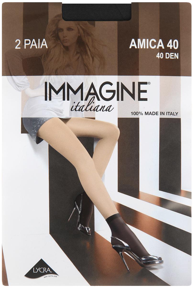 Носки женские Immagine Amica 40, цвет: Nero (черный), 2 пары. Размер универсальный платье elisa immagine elisa immagine el033ewobn78