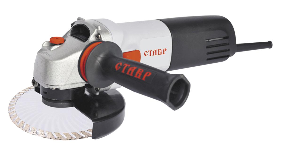 Машина шлифовальная угловая Ставр МШУ-115/750 Мст115-750мУгловая шлифовальная машина Ставр МШУ-115/750 М применяется в строительных работах для шлифовки, резки или очистки металлических изделий. При использовании специальных дисков может резать керамическую плитку. Кожух ограждает пользователя от стружки и пыли. Инструмент во время работы удобно удерживать за дополнительную рукоятку. Управление становится уверенным, а обработка более тщательной.Комплектация: защитный кожух, ключ для фланца, дополнительная рукоятка, угольные щетки (комплект), инструкция.