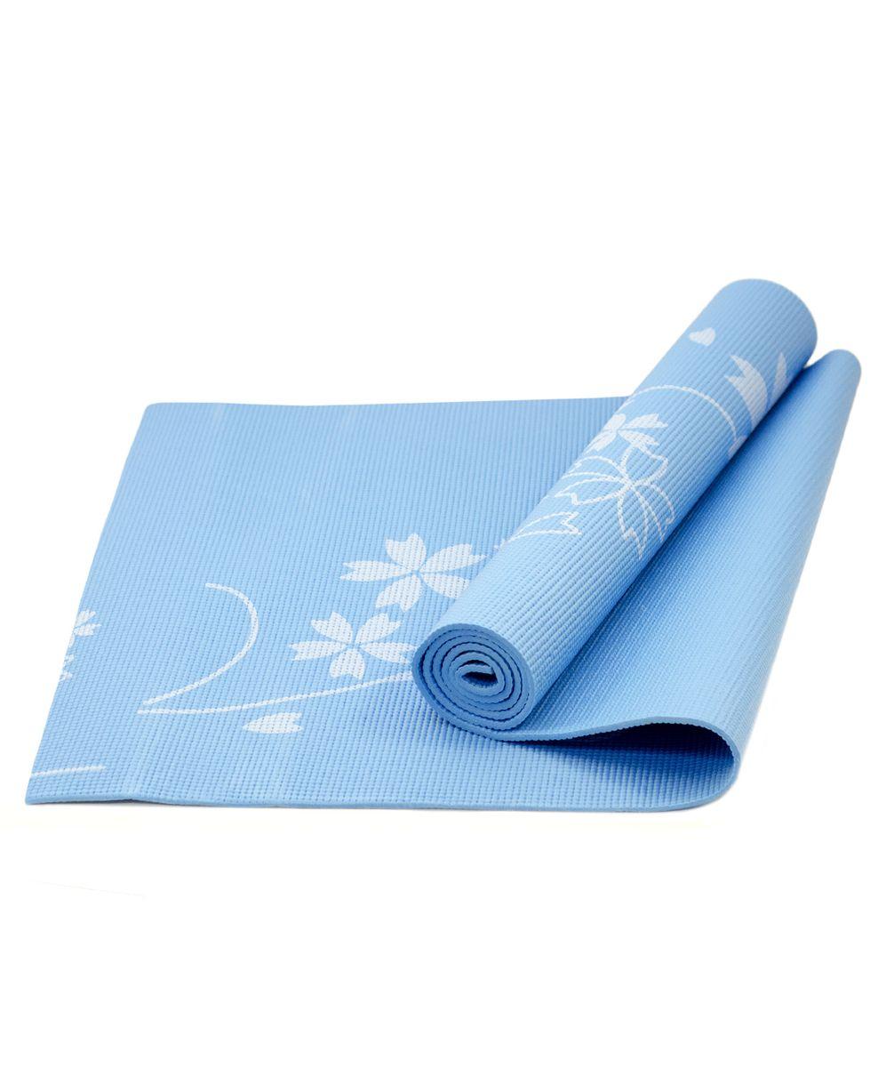 Коврик для йоги Starfit FM-102, цвет: синий, 173 х 61 х 0,6 смУТ-00007244Коврик для йоги Star Fit FM-102 - это незаменимый аксессуар для любого спортсмена как во время тренировки, так и во время пре-стретчинга (растяжки до тренировки) и стретчинга (растяжки после тренировки). Выполнен из высококачественного ПВХ и оформлен оригинальным рисунком в виде цветов. Коврик используется в фитнесе, йоге, функциональном тренинге. Его используют спортсмены различных видов спорта в своем тренировочном процессе.Предпочтительно использовать без обуви. Если в обуви, то с мягкой подошвой, чтобы избежать разрыва поверхности коврика.