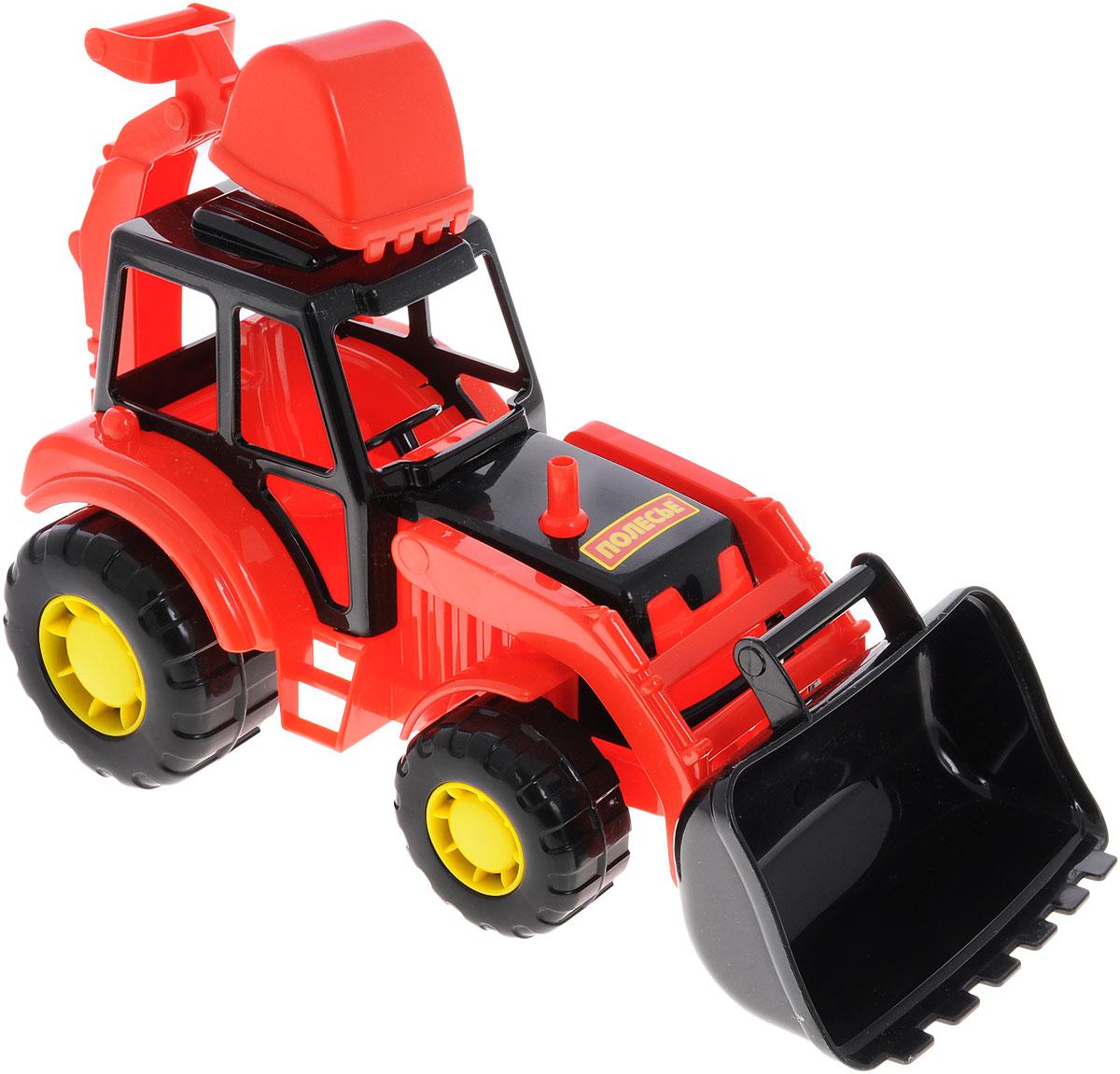 Полесье Трактор-экскаватор Мастер цвет красный tomy трактор john deere 6830 с двойными колесами и фронтальным погрузчиком с 3 лет
