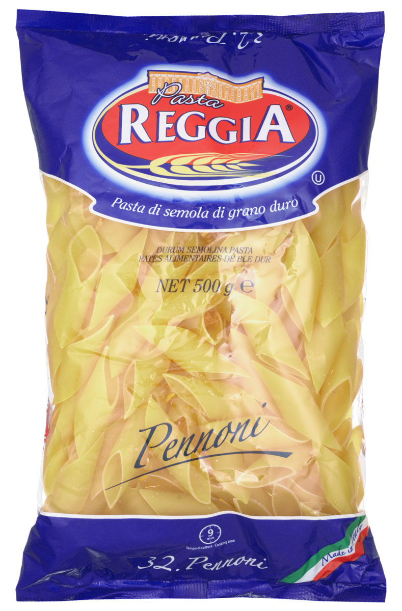 Pasta Reggia Перо большое макароны, 500 г8008857300320Макароны Pasta Reggia 032 сочетают в себе современность технологий производства и традиционное итальянское качество.Pasta Reggia предлагает сегодня российскому рынку более 70 видов длинных, коротких и специальных форматов произведенных пусть и на самом современном оборудовании, но по классическим рецептам неаполитанской сушки Юга Италии.