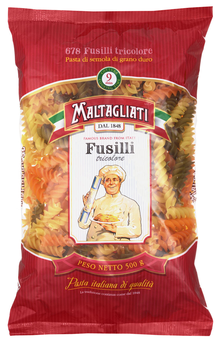 Maltagliati Fusilli Спираль триколор макароны, 500 г maltagliati alfabeto алфавит макароны 500 г