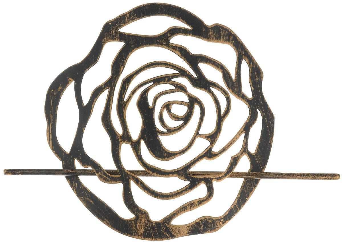Заколка для штор Мир Мануфактуры, цвет: черный, бронзовый697020_5 черный, бронзовыйЗаколка Мир Мануфактуры, выполненная извысококачественного металла, предназначена дляфиксации штор или для формирования декоративных складокна ткани. С ее помощью можно зафиксироватьшторы или скрепить их, придать им требуемоеположение, сделать симметричные складки.Заколка для штор является универсальнымизделием, которое превосходно подойдет длялюбых видов штор. Заколка придаст шторамвосхитительный, стильный внешний вид и добавитуют в интерьер помещения.Размер декоративного элемента: 16,5 см х 16,2 см.Длина палочки: 23 см.