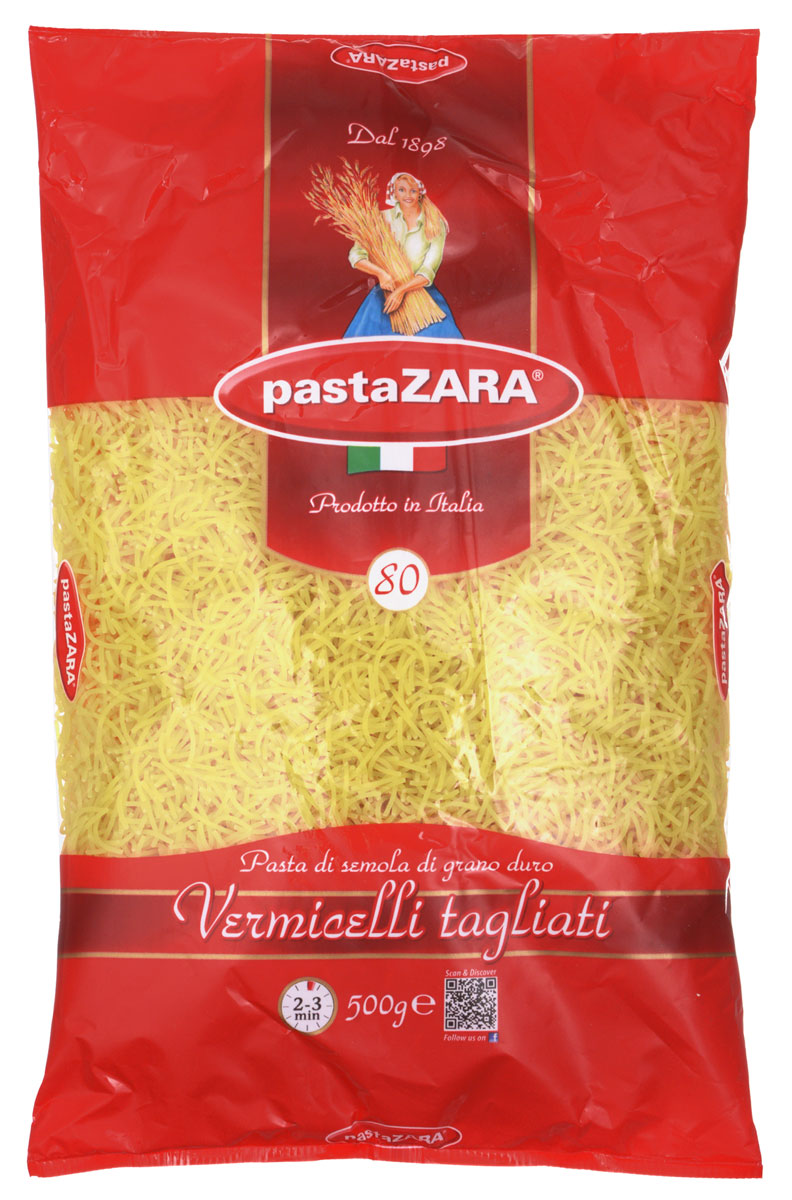 Pasta Zara Вермишель макароны, 500 г8004350130808Макаронные изделия Pasta Zara — одна из самых популярных марок итальянских макаронных изделий в России. Продукция под торговой маркой Pasta Zara сочетает в себе современность технологий производства и традиционное итальянское качество. Макароны Pasta Zara выпускаются в Италии с 1898 года. Компания Pasta Zara — это семейный бизнес, который вкладывает более, чем вековой опыт работы с макаронными изделиями в создание и продвижение своего продукта, тщательно отслеживая сохранение традиций.Pasta Zara 080 вермишель, завоевав доверие более чем в 80 странах мира, в России дважды отмечалась наградой, как один из сотни лучших товаров страны. Продукция компании производится на самой технически современной фабрике Италии в городе Мудже.