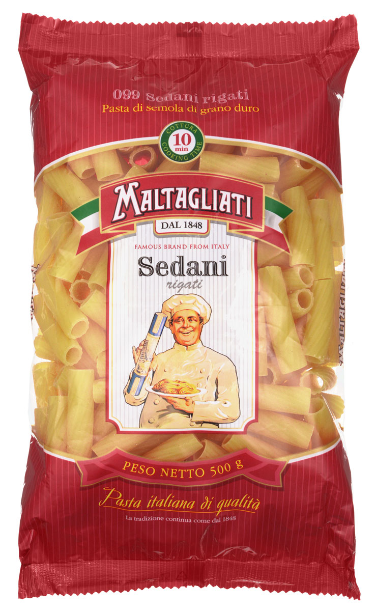 Maltagliati Sedani rigati Труба прямая макароны, 500 г maltagliati penne перья макароны 500 г