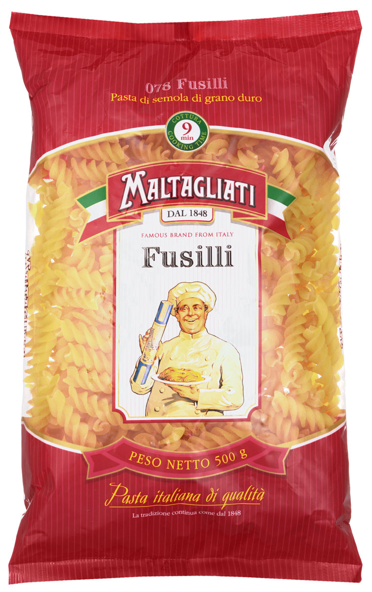 Maltagliati Fusilli Спираль макароны, 500 г макаронные изделия ореккьетте de cecco