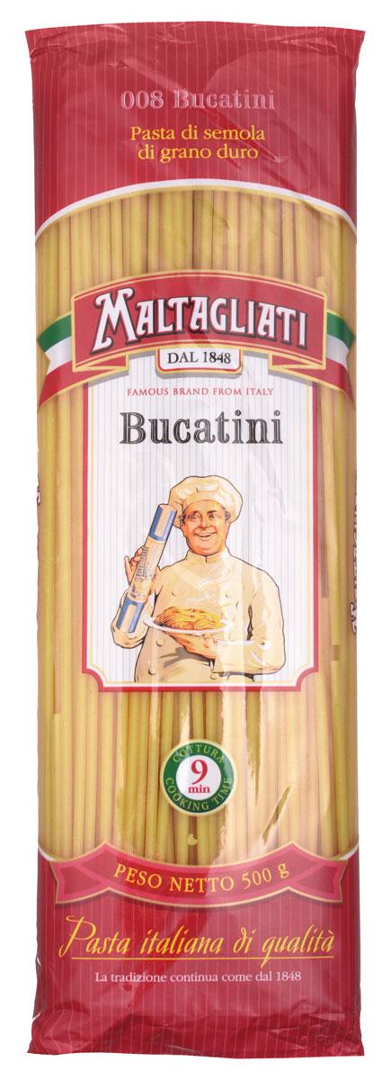 Maltagliati Bucatini Букатини макароны, 500 г8001810903491Букатини Maltagliati 008 производятся в Италии в Тоскане с 1848 года. Макаронные изделия Maltagliati с изображением итальянского повара — самые известные итальянские макаронные изделия на территории Российской Федерации и, вероятно, всего бывшего СССР. Эти макаронные изделия из твердых сортов пшеницы зарекомендовали себя как отличная основа для различных блюд. Они безусловно придутся по вкусу самым требовательным гурманам!
