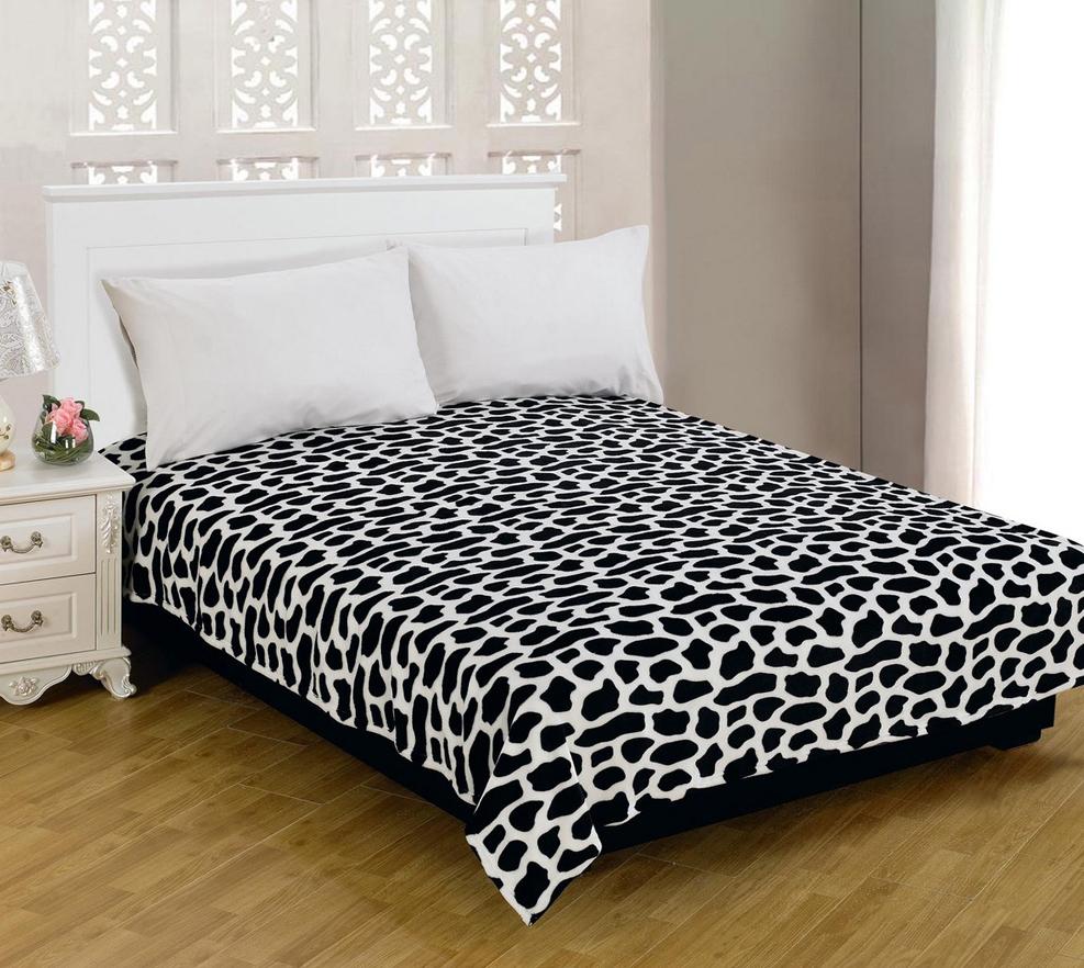 "Плед Amore Mio ""Spot"", цвет: черный, белый, 180 см х 230 см"