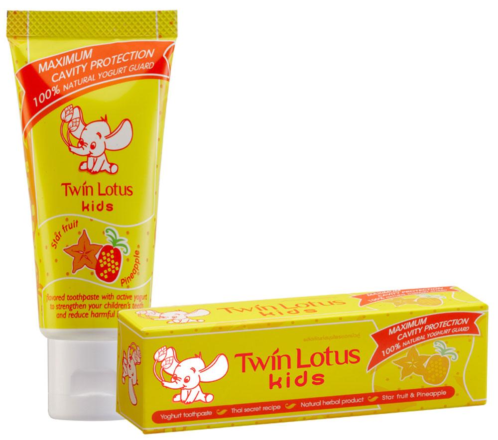 Twin Lotus Детская зубная паста Карамбола и ананас, 50 г twin lotus зубная паста рецепт для чувствительных зубов 120 г