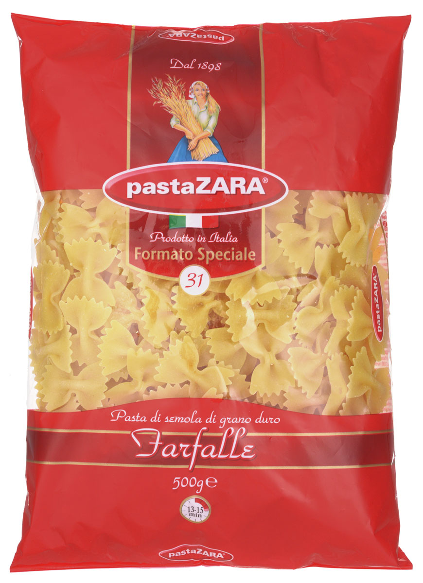 Pasta Zara Бабочки макароны, 500 г pasta zara перо гладкое макароны 500 г