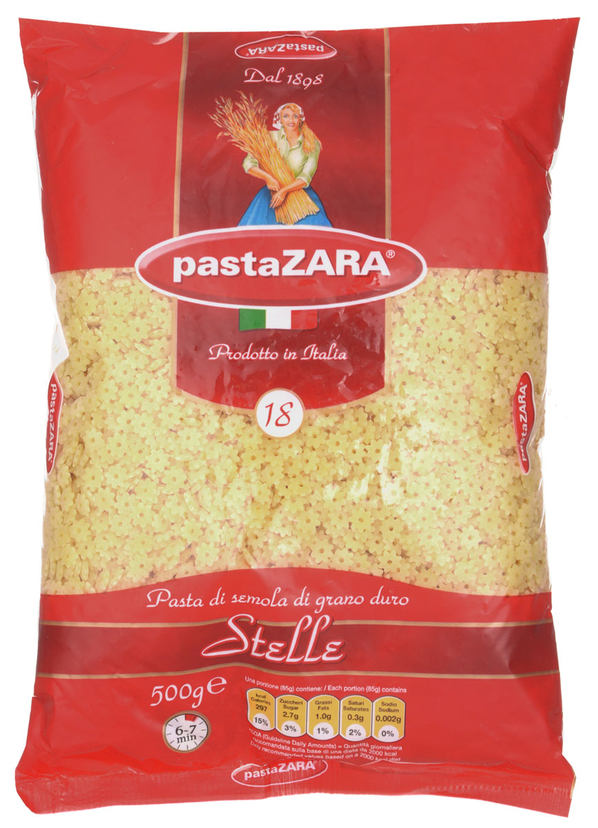 Pasta Zara Звездочки макароны, 500 г8004350130181Макароны-звездочки Pasta Zara 018 сочетают в себе современность технологий производства и традиционное итальянское качество. Они подходят как для добавления в супы, так и для приготовления детских блюд. Маленьким гурманам безусловно понравятся эти веселые мелкие макароны! Благодаря муке из твердых сортов пшеницы изделия не развариваются и сохраняют свою форму.