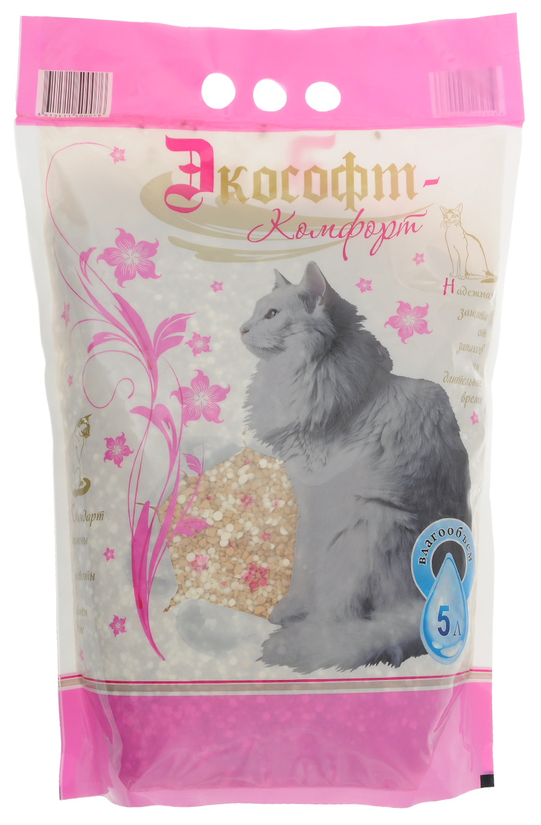 Наполнитель для кошачьего туалета Экософт Комфорт , 5 л000000128Наполнитель Экософт Комфорт состоит из смеси обожженной диатомитовой крошки и силикоцеолита. Благодаря новейшим разработкам, наполнитель быстро впитывает влагу и надолго удерживает неприятный запах. Гранулы наполнителя не прилипают к лапам и к шерсти животного. Подходит, как для котят, так и для взрослых кошек и котов всех пород.