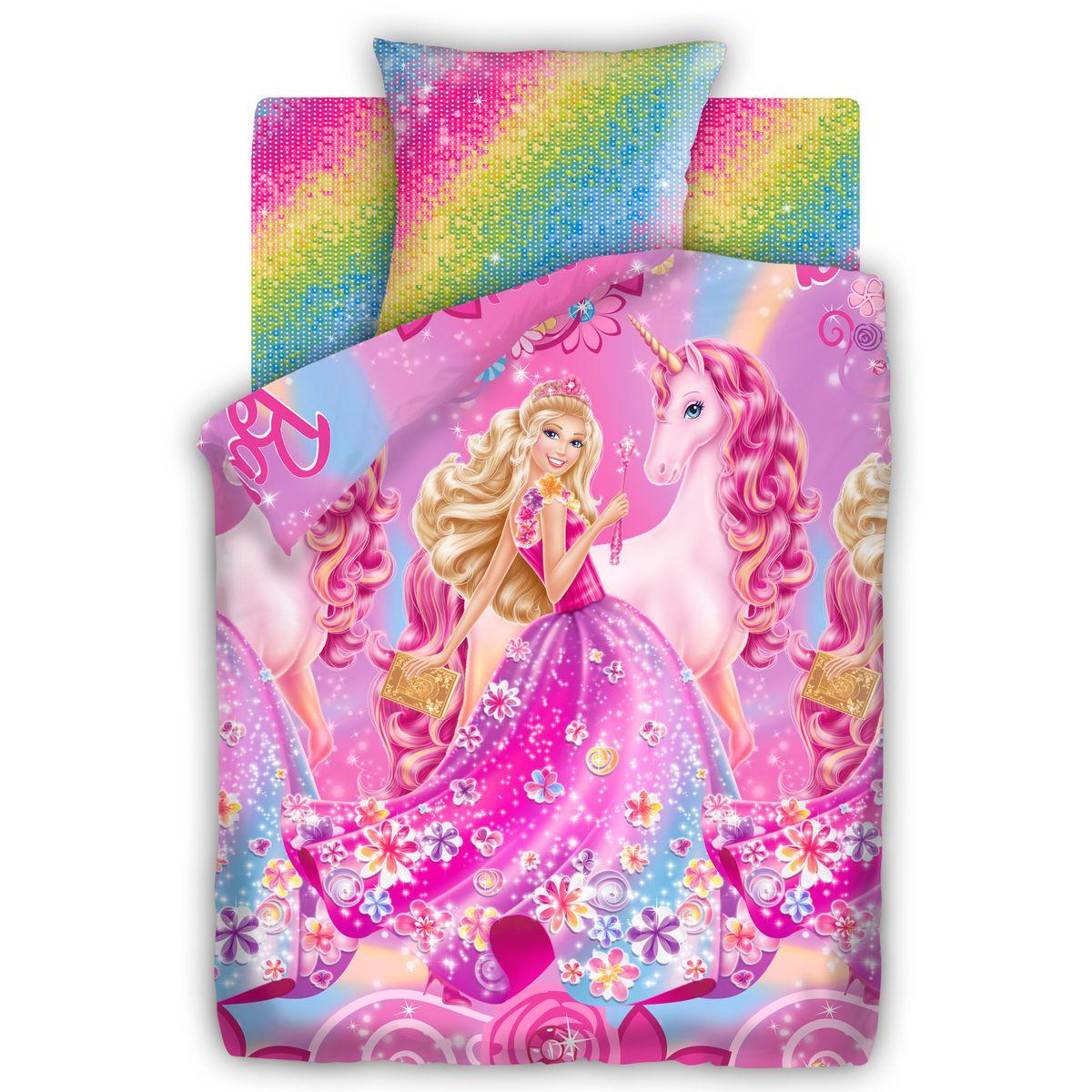 Barbie Комплект детского постельного белья Принцесса Алекса, 1,5 бязь, рис. 8715+8716312388Комплект детского постельного белья Barbie Принцесса Алекса: наволочка 70*70, пододеяльник 215*145, простыня 220*150.