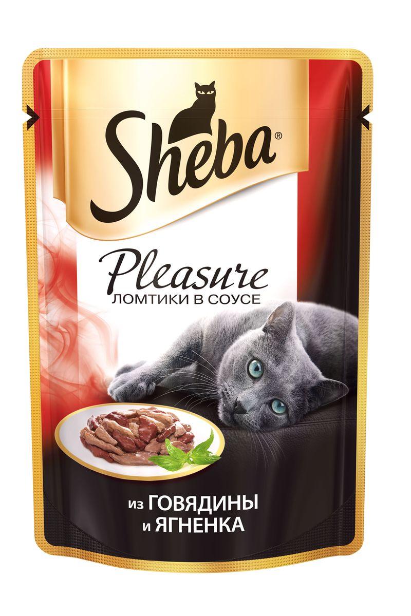 Консервы для взрослых кошек Sheba Pleasure, с говядиной и ягненком, 85 г sheba appetito ломтики в желе с говядиной и кроликом для кошек 85г 10161708