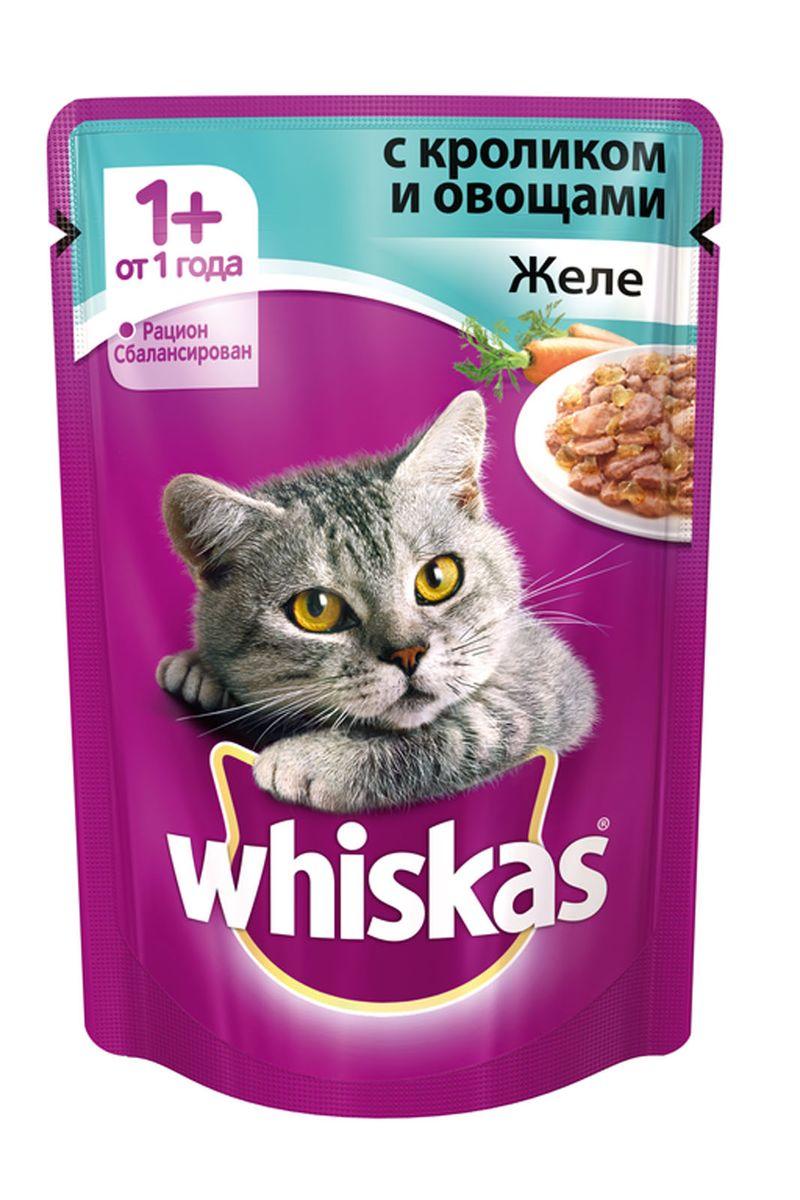 Консервы для кошек от 1 года Whiskas, желе с кроликом и овощами, 85 г корм whiskas подушечки овощные говядина кролик 1 9kg 10150211