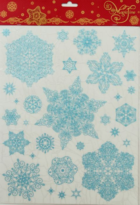 Новогоднее оконное украшение-31242/72 Снежинки голубые 1 из ПВХ пленки, декорировано глиттером; крепится к гладкой поверхности стекла посредством статического эффекта31242Новогоднее оконное украшение-31242/72 Снежинки голубые 1 из ПВХ пленки, декорировано глиттером; крепится к гладкой поверхности стекла посредством статического эффекта (30*38 см)