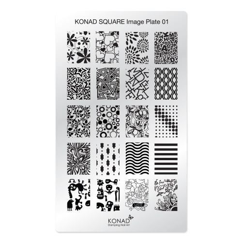 Konad Square Пластина для степинга Square Image Plate01SN-SIP01Плитка для степинга. Больше узоров, больше творчества. Нанести лак на диск для стемпинга, убрать излишки скрапером, отпечатать на штамп и перенести на ноготь.