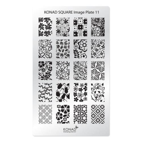 Konad Square Пластина для степинга Square Image Plate11SN-SIP11Плитка для стемпинга. Больше узоров, больше творчества. Нанести лак на диск для стемпинга, убрать излишки скрапером, отпечатать на штамп и перенести на ноготь.