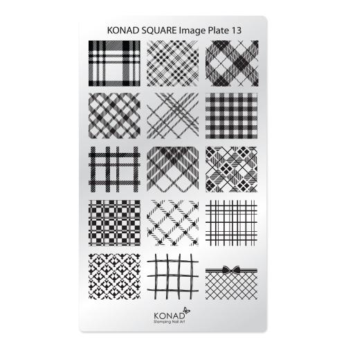 Konad Square Пластина для степинга Square Image Plate13SN-SIP13Плитка для стемпинга. Больше узоров, больше творчества. Нанести лак на диск для стемпинга, убрать излишки скрапером, отпечатать на штамп и перенести на ноготь.