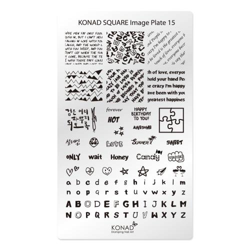Konad Square Пластина для степинга Square Image Plate15SN-SIP15Плитка для стемпинга. Больше узоров, больше творчества. Нанести лак на диск для стемпинга, убрать излишки скрапером, отпечатать на штамп и перенести на ноготь.