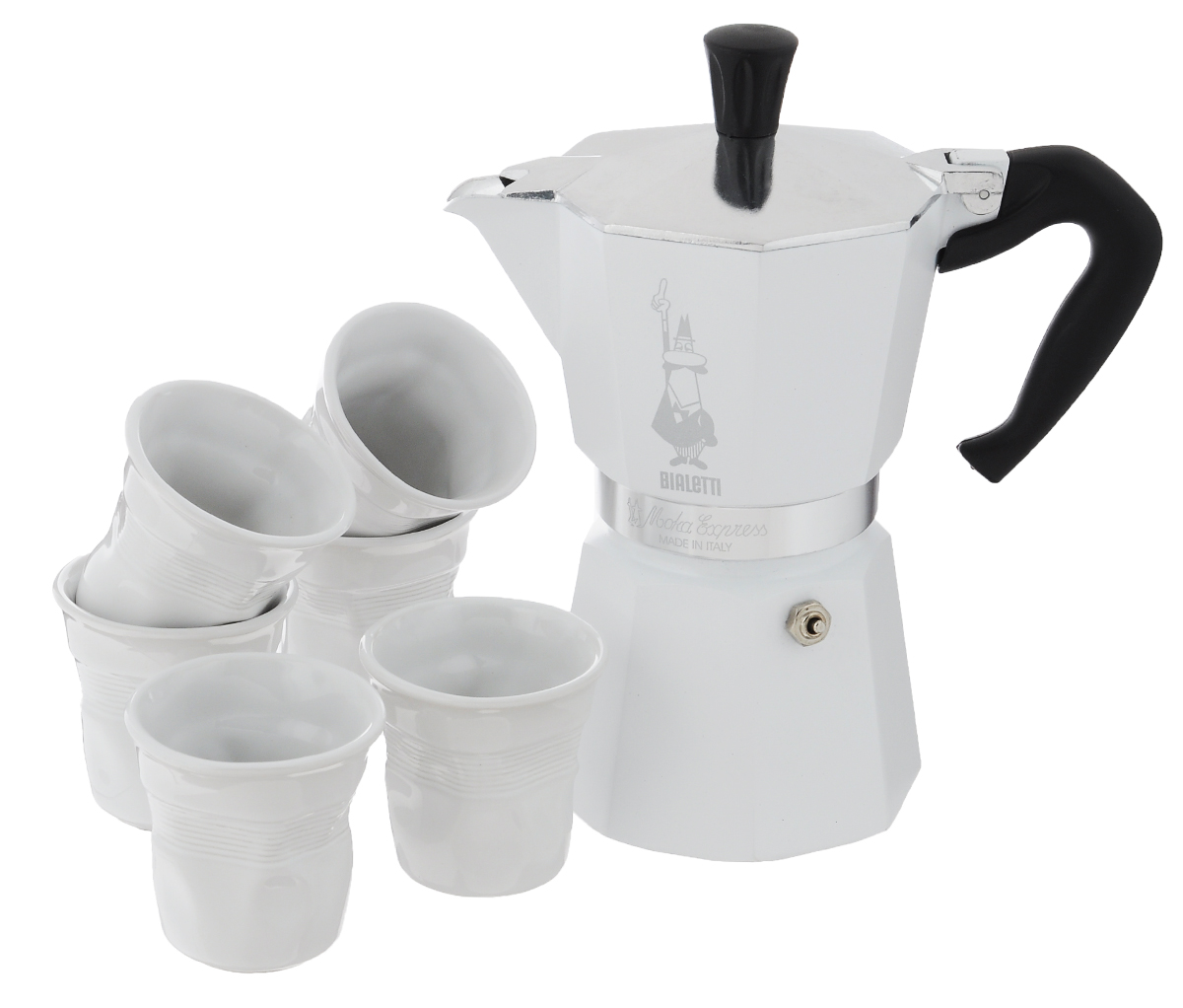 Набор посуды Bialetti Moka, цвет: белый, стальной, 7 предметов4030Набор посуды Bialetti Moka включает в себя гейзерную кофеварку и 6 чашек для кофе.Компактная гейзерная кофеварка изготовлена из высококачественного алюминия. Изделие оснащено удобной ручкой из пластика. Кофейные чашки выполнены из высококачественной керамики.Принцип работы такой гейзерной кофеварки - кофе заваривается путем многократного прохождения горячей воды или пара через слой молотого кофе. Удобство кофеварки в том, что вся кофейная гуща остается во внутренней емкости. Гейзерные кофеварки пользуются большой популярностью благодаря изысканному аромату. Кофе получается крепкий и насыщенный. Теперь и дома вы сможете насладиться великолепным эспрессо. Подходит для газовых, электрических и стеклокерамических плит. Нельзя мыть в посудомоечной машине. Высота кофеварки: 22 см.Диаметр дна кофеварки: 10 см.Диаметр чашек по верхнему краю: 6,5 см.Диаметр дна чашек: 3,7 см.Высота чашек: 6,4 см.
