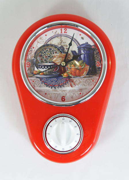 Кухонные настенные часы Натюрморт арт.37382 (16*5*23см, с таймером без элемента питания) / 16*5*23 арт.37382
