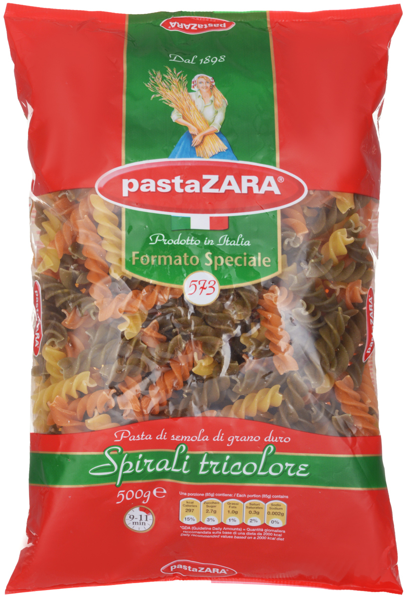 Pasta Zara Спираль трехцветная макароны, 500 г pasta zara перо гладкое макароны 500 г