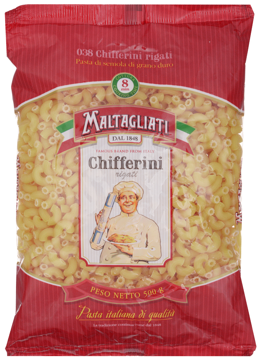 Maltagliati Chifferini Rigati Рожки макароны, 500 г maltagliati barbine nidi клубки вермишель макароны 500 г