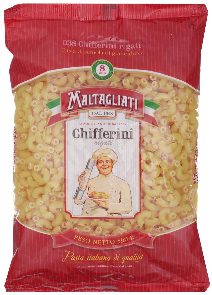 Maltagliati Chifferini Rigati Рожки макароны, 500 г maltagliati gnocchi куколка макароны 500 г