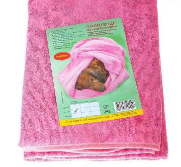 Полотенце для животных  ZooSpa , цвет: розовый, 70 х 140 см - Товары для ухода (груминг)