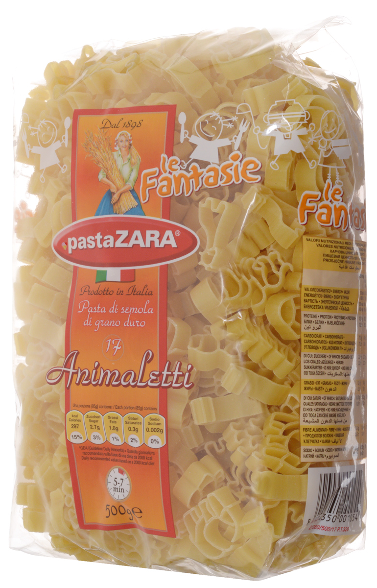 Pasta Zara Фантазия Зверьки макароны, 500 г8004350001054Фантазийные макароны Pasta Zara в форме зверей сочетают в себе современность технологий производства и традиционное итальянское качество. Эти изделия придутся по вкусу, прежде всего, детям, благодаря форме макарон в виде различных экзотических животных. Отменные вкусовые качества позволят вам приготовить десятки ваших любимых блюд и порадовать родных и близких.