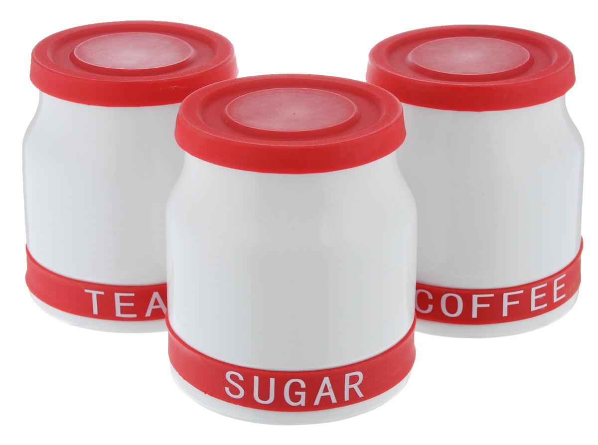 Набор банок для хранения Mayer & Boch, цвет: белый, красный, 800 мл, 3 шт21640_белый, красныйНабор Mayer & Boch состоит из трех банок для хранения, выполненных из керамики. Банки специально предназначены для хранения сахара, чая и кофе. Изделия оснащены плотно закрывающимися силиконовыми крышками, которые позволяют надолго сохранить аромат продуктов. Такой набор красиво оформит интерьер кухни и позволит компактно хранить сыпучие продукты. Можно мыть в посудомоечной машине.Диаметр банки (по верхнему краю): 10 см. Диаметр основания: 11,5 см.Высота банки (с учетом крышки): 13 см.