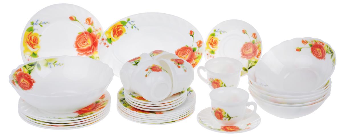 Набор столовой посуды Chinbull Алессио, 32 предметаW-32I/6665Набор Chinbull Алессио состоит из 6 обеденных тарелок, 6 десертных тарелок, 6 суповых тарелок, 6 чашек, 6 блюдец, салатника и овального блюда. Изделия выполнены из высококачественной стеклокерамики и декорированы красочным изображением цветов. Посуда отличается прочностью, гигиеничностью и долгим сроком службы, она устойчива к появлению царапин и резким перепадам температур. Такой набор прекрасно подойдет как для повседневного использования, так и для праздников.Набор столовой посуды Chinbull Алессио- это не только яркий и полезный подарок для родных и близких, а также великолепное дизайнерское решение для вашей кухни или столовой. Можно мыть в посудомоечной машине и использовать в микроволновой печи. Диаметр обеденной тарелки (по верхнему краю): 20 см. Высота обеденной тарелки: 2 см.Диаметр десертной тарелки (по верхнему краю): 17,5 см. Высота десертной тарелки: 1,6 см. Диаметр суповой тарелки (по верхнему краю): 18 см.Высота суповой тарелки: 5,5 см.Диаметр салатника (по верхнему краю): 22,5 см.Высота салатника: 7 см.Размер блюда: 25 см х 17 см х 2 см.Диаметр блюдца (по верхнему краю): 13,7 см.Высота блюдца: 1,6 см.Диаметр чашки (по верхнему краю): 8,5 см.Высота чашки: 6,5 см.Объем чашки: 200 мл.