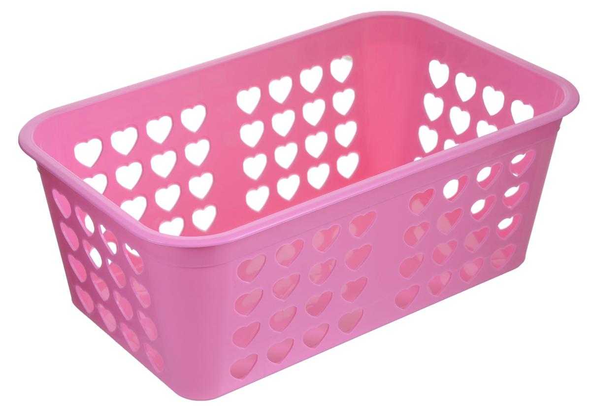 Корзина для хранения Альтернатива Вдохновение, цвет: розовый, 26,5 см х 16,5 см х 10 смМ471_розовыйПрямоугольная корзина Альтернатива Вдохновение, изготовленная из пластика, предназначена для хранения мелочей в ванной, на кухне, даче или гараже. Корзина со сплошным дном, оснащена перфорированными стенками.Элегантный выдержанный дизайн позволяет органично вписаться в ваш интерьер и стать его элементом.