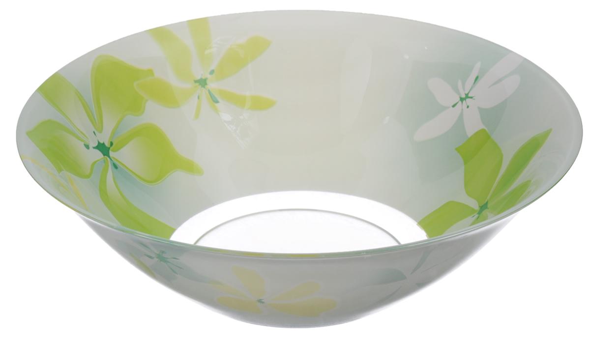 Салатник Luminarc Green Ode, диаметр 27 смG0711Салатник Luminarc Green Ode выполнен из ударопрочного стекла и декорирован изображением цветов. Яркий дизайн придется по вкусу и ценителям классики, и тем, кто предпочитает утонченность и изысканность. Салатник Luminarc Green Ode идеально подойдет для сервировки стола и станет отличным подарком к любому празднику.Диаметр (по верхнему краю): 27 см.Высота стенки: 9 см.
