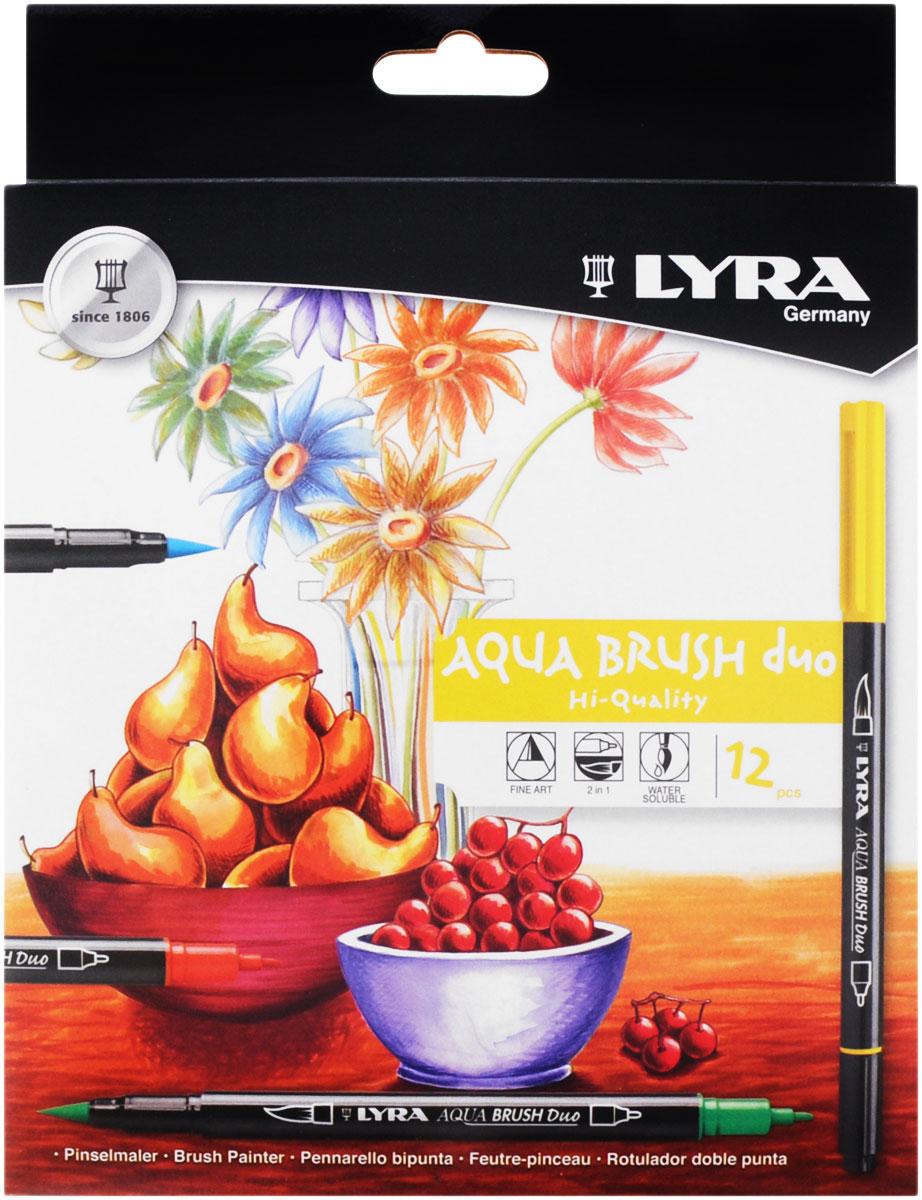 Lyra Набор цветных фломастеров Aqua Brush Duo 12 штL6521120_12 цветовНабор цветных фломастеров Lyra Aqua Brush Duo - это красивое и приятноеприобретение для любого художника и дизайнера.Фломастерыдвойного назначения: с одной стороны наконечник с эффектом кисточки, с другойстороны фломастер имеет традиционный округленный наконечник. Удивительныесвойства наконечника позволяют не только проводить очень четкие линии, но ихудожественно оттенять большие участки рисунка. Фломастеры Aqua Brush Duoсодержат чернила на водной основе, безопасны, светостойки. Очень яркие,чистые цвета. В наборе представлены 12 цветных фломастеров.