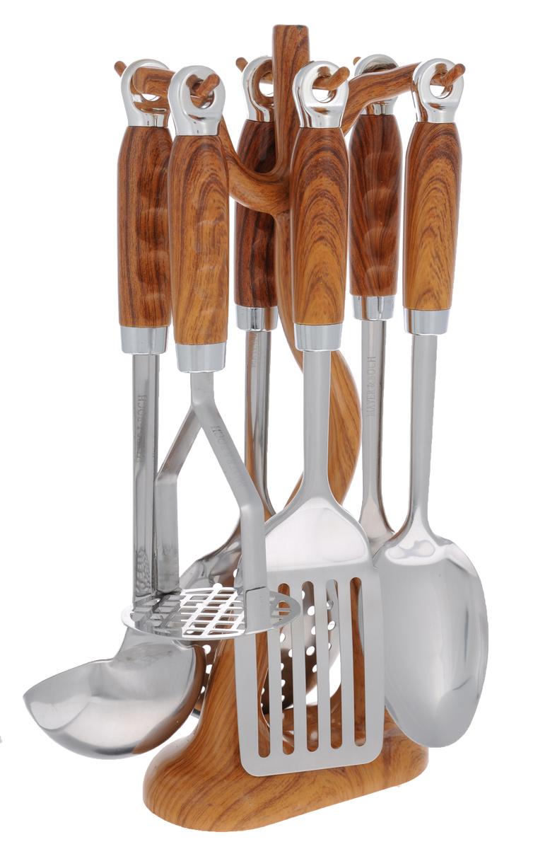 Набор кухонных принадлежностей Mayer&Boch, цвет: металлик, коричневый, 7 предметов. 2242822428Набор кухонных принадлежностей Mayer & Boch станет незаменимым помощником на кухне, поскольку в набор входят самые необходимые кухонные аксессуары: ложка для спагетти, половник, шумовка, ложка кулинарная, лопатка с прорезями, картофелемялка. Предметы набора изготовлены из нержавеющей стали и размещены на элегантной пластиковой подставке. Ручки изделий, выполненные из пластика, оснащены отверстием для подвешивания на крючок. Пластиковые части изделия имитируют дерево.Размер подставки: 16 см х 8 см х 38 см.Длина половника: 33 см.Размер рабочей поверхности половника: 9 см х 9 см.Длина лопатки с прорезями: 33 см.Размер рабочей поверхности лопатки с прорезями: 10 см х 7,5 см.Длина ложки: 3 см.Размер рабочей поверхности ложки: 10 см х 7,5 см.Длина ложки для спагетти: 31 см.Размер рабочей поверхности ложки для спагетти: 6 см х 8 см.Длина шумовки: 34 см.Размер рабочей поверхности шумовки: 11 см х 11 см.Длина картофелемялки: 24 см.Размер рабочей поверхности картофелемялки: 8 см х 8 см.