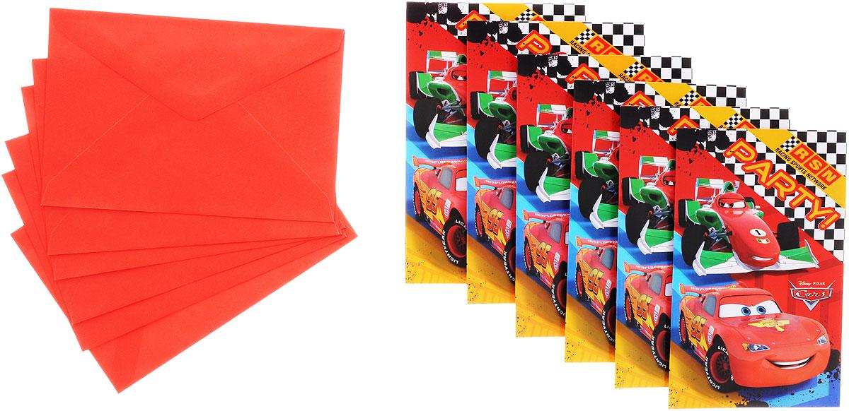 Procos Пригласительные открытки в конвертах Тачки 6 шт -  Аксессуары для детского праздника