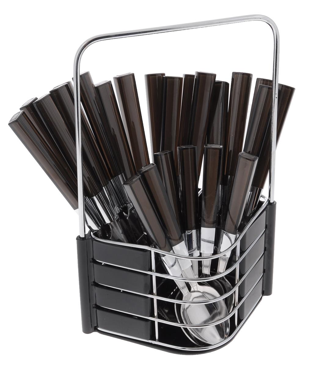 Набор столовых приборов Mayer&Boch, цвет: черный, 25 предметов. 2324123241_черныйНабор столовых приборов Mayer & Boch выполнен из нержавеющей стали и высококачественного пластика. В набор входит 25 предметов: 6 столовых ножей, 6 столовых вилок, 6 столовых ложек, 6 чайных ложек и подставка. Приборы имеют оригинальные удобные ручки, выполненные из пластика. Прекрасное сочетание свежего дизайна и удобство использования предметов набора придется по душе каждому. Предметы набора расположены на подставке, выполненной из металла с пластиковыми вставками. Набор столовых приборов Mayer & Boch подойдет для сервировки стола, как дома, так и на даче и всегда будет важной частью трапезы, а также станет замечательным подарком.Длина столовых ножей: 22 см.Длина столовых вилок: 20 см.Длина столовых ложек: 19,5 см.Длина чайных ложек: 16 см.Размер подставки: 17,5 см х 13 см х 26 см.