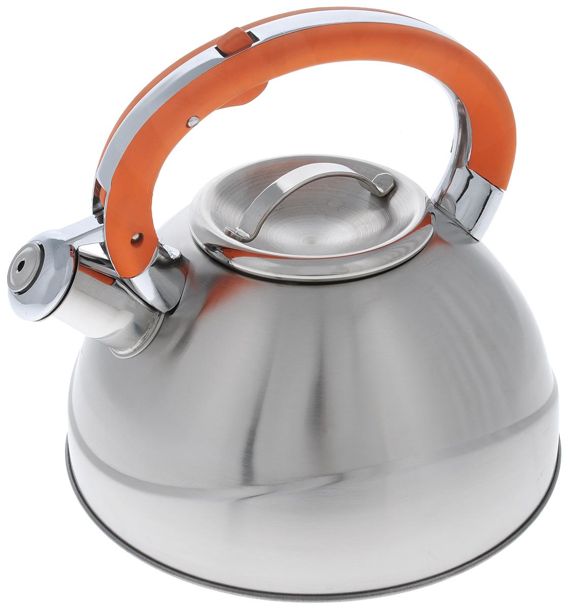 Чайник Wellberg, со свистком, цвет: оранжевый, 3 л. 6123WB9560BHЧайник со свистком Wellberg изготовлен из высококачественной нержавеющейстали с матовой полировкой. Капсульное дно обеспечивает равномерный и быстрый нагрев,поэтому вода закипаетгораздо быстрее, чем в обычныхчайниках. Носик чайника оснащен откидным свистком, звуковой сигнал которогоподскажет, когда закипит вода. Свисток открывается нажатием кнопки на ручке.Эргономичная нейлоновая ручка имеет покрытие Soft-Touch.Чайник Wellberg - качественное исполнение и стильное решение для вашей кухни.Подходит для использования на газовых, стеклокерамических, электрических, галогеновыхи индукционных плитах. Также изделие можно мыть в посудомоечной машине. Высота чайника (без учета ручки и крышки): 12,5 см. Диаметр основания чайника: 22 см. Диаметр чайника (по верхнему краю): 10 см.