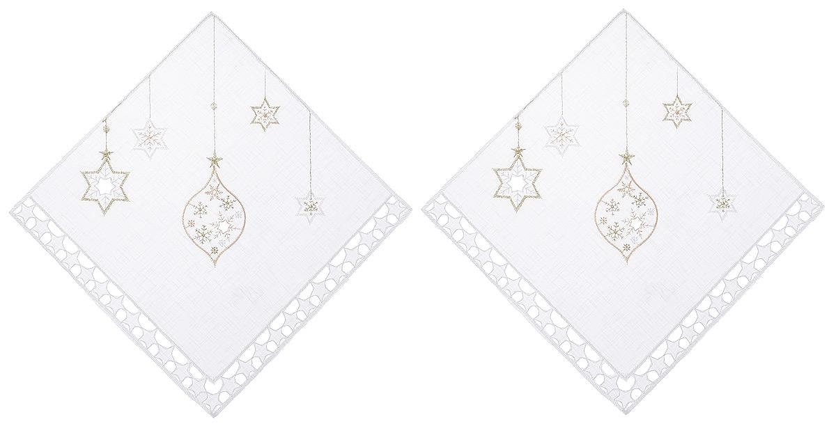 Салфетка Schaefer, квадратная, цвет: белый, 30 х 30 см, 2 шт. 07397-32787488Квадратная салфетка Schaefer, выполненная из полупрозрачного полиэстера, станет изысканным украшением интерьера. Изделие декорировано вышивкой в виде елочных игрушек и красивой перфорацией по краю в виде звездочек.Изделия из искусственных волокон легко стирать: они не мнутся, не садятся и быстро сохнут, они более долговечны, чем изделия из натуральных волокон.Вы можете использовать салфетку для декорирования стола, комода, журнального столика. В любом случае она добавит в ваш дом стиля, изысканности и неповторимости и убережет мебель от царапин и потертостей.