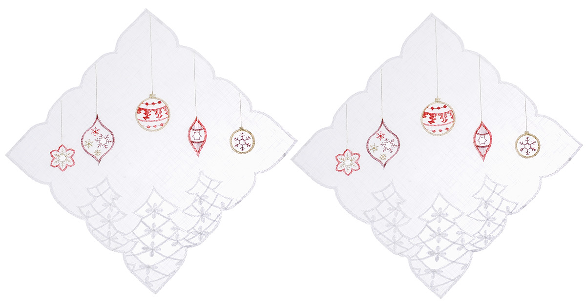 Салфетка Schaefer, квадратная, цвет: белый, 30 х 30 см, 2 шт. 07396-32707396-327Квадратная салфетка Schaefer, выполненная из полупрозрачного полиэстера, станет изысканным украшением интерьера. Изделие декорировано вышивкой в виде елочных игрушек и красивой перфорацией по краю. Изделия из искусственных волокон легко стирать: они не мнутся, не садятся и быстро сохнут, они более долговечны, чем изделия из натуральных волокон. Вы можете использовать салфетку для декорирования стола, комода, журнального столика. В любом случае она добавит в ваш дом стиля, изысканности и неповторимости и убережет мебель от царапин и потертостей.