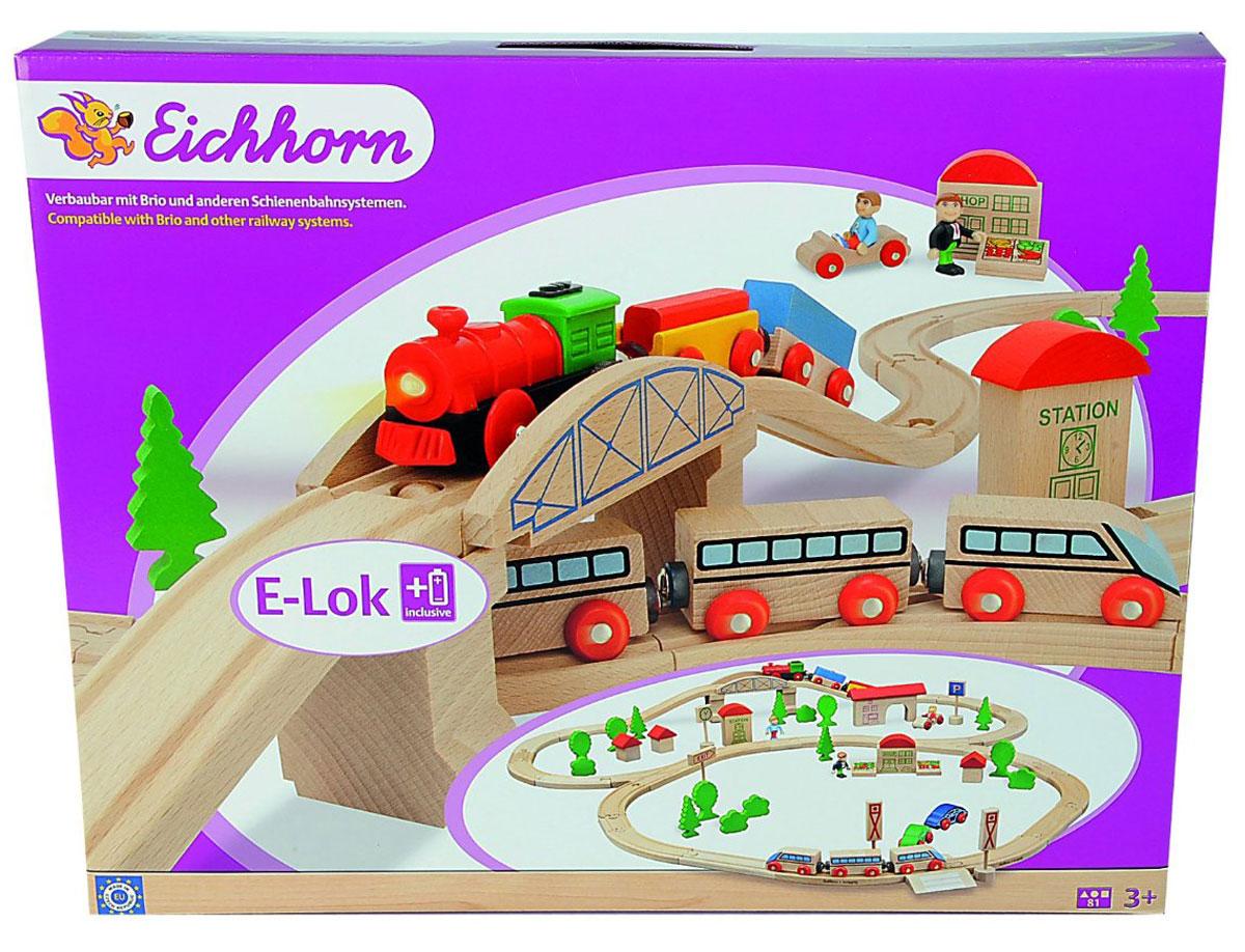 Eichhorn Железная дорога с мостом и поездами железные дороги eichhorn гибкий тоннель 41 см