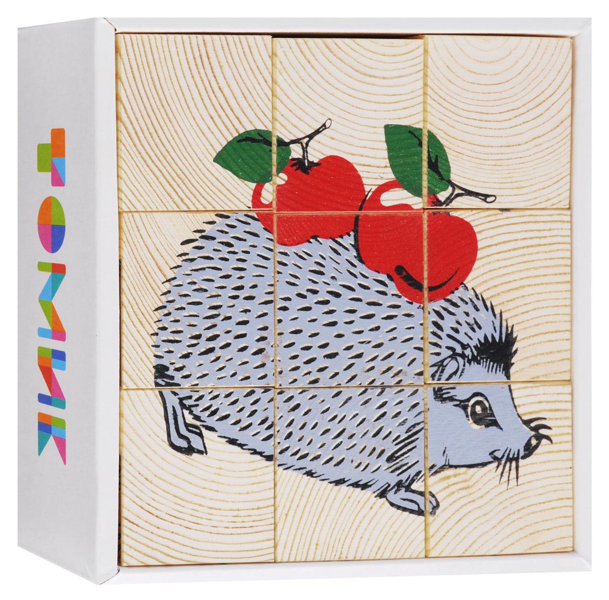 Томик Кубики Животные леса развивающие деревянные игрушки кубики животные