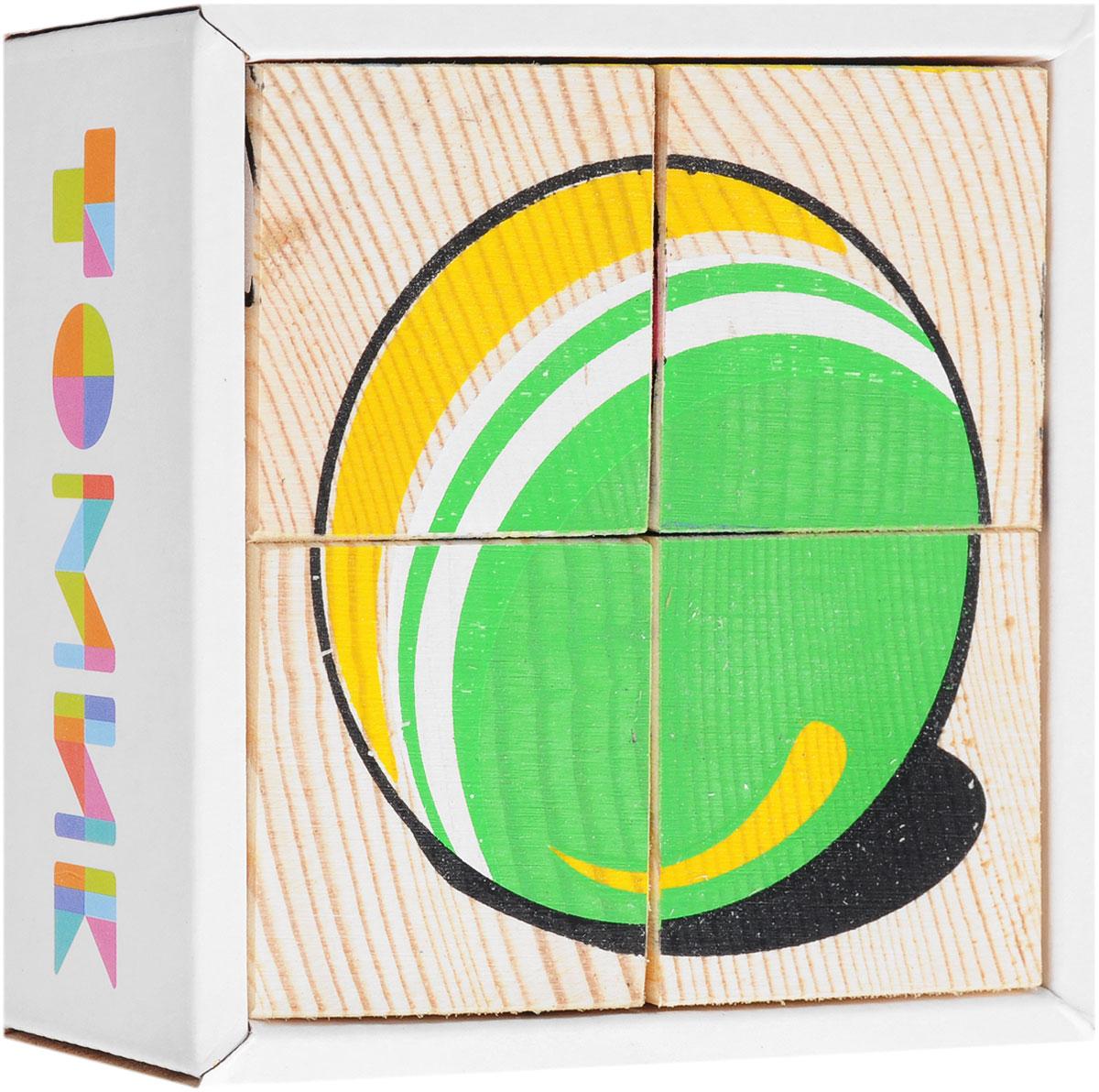 Томик Кубики Игрушки развивающие деревянные игрушки кубики животные