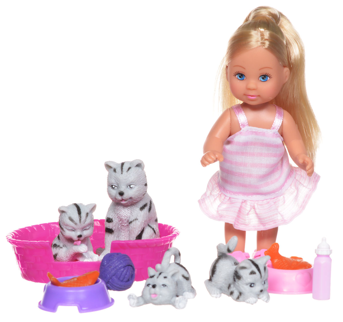 Simba Игровой набор с мини-куклой Еви с кошками