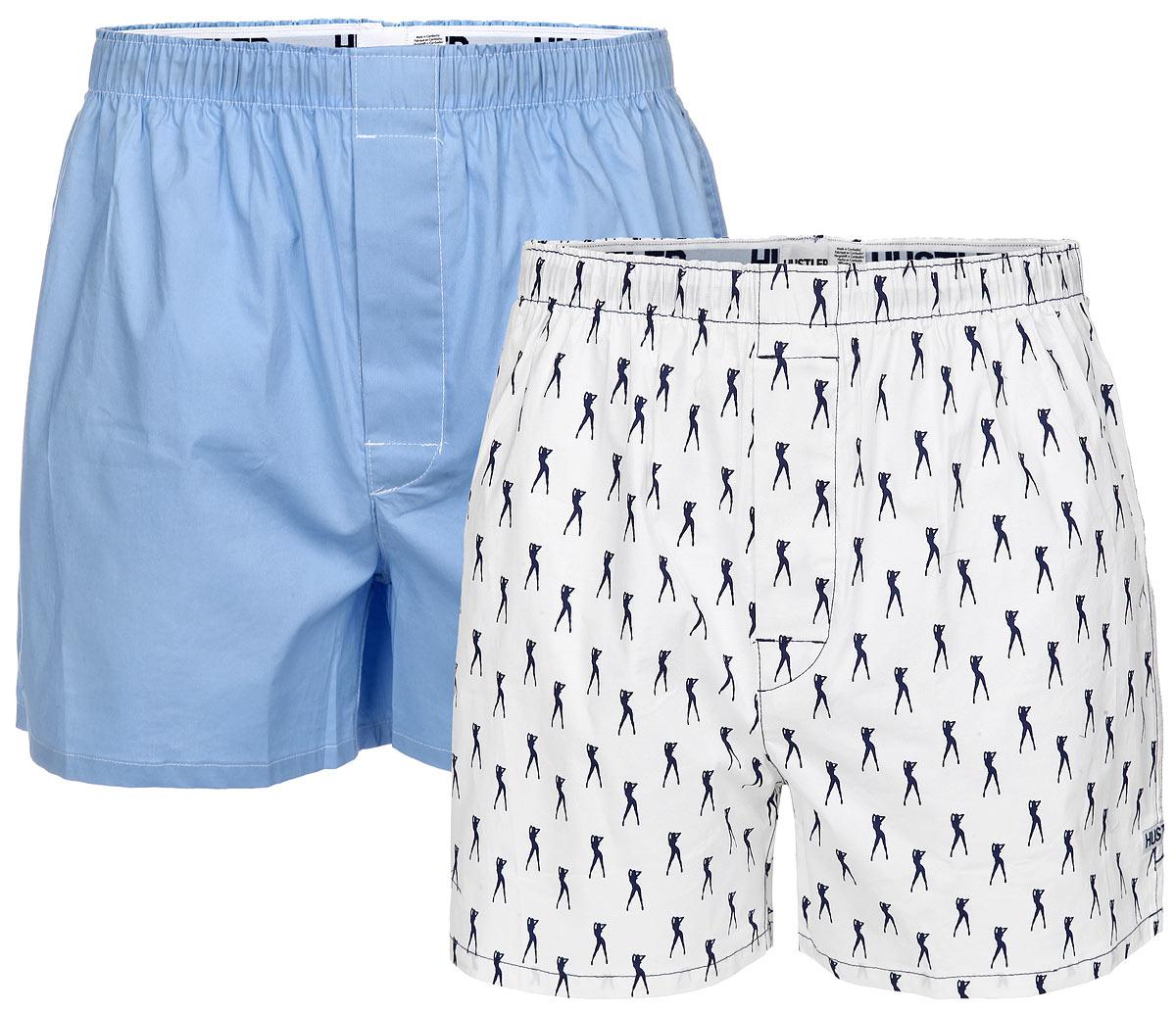 Трусы-шорты мужские Hustler Lingerie Blue Line, цвет: белый, голубой, темно-синий, 2 шт. HUW-1006BLU. Размер S 46
