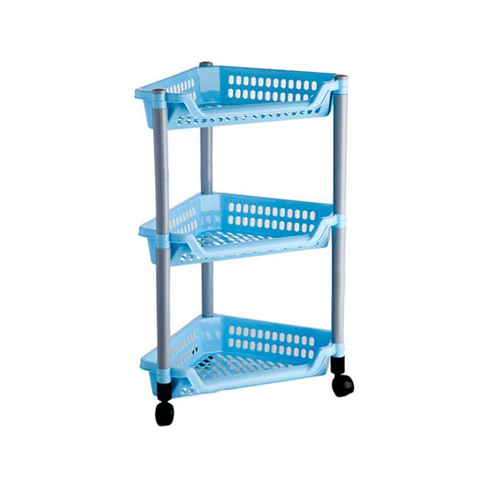 Этажерка угловая Бытпласт Тереза, 3 полки, цвет: голубой, 40 х 27 х 61 смС12420Угловая этажерка Тереза с 3 полками выполнена из пластика и предназначена для хранения различных предметов на кухне или в ванной. Для удобства перемещения этажерка оснащена колесиками. Очень удобная и компактная, но в тоже время вместительная, она прекрасно впишется в пространство любого помещения. Этажерка придется особенно кстати, если у вас небольшая ванная или кухня: она займет минимум пространства. Легко собирается и разбирается. Размер этажерки (ДхШхВ): 40 х 27 х 61 см. Размер полки (ДхШхВ): 40 х 27 х 6 см.